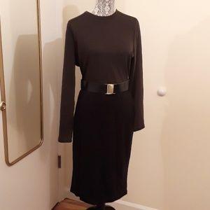River Island olive and black dress